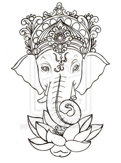 33 lotus tattoo stencils designs cool black outline ganesha with lotus flower tattoo stencil mightylinksfo