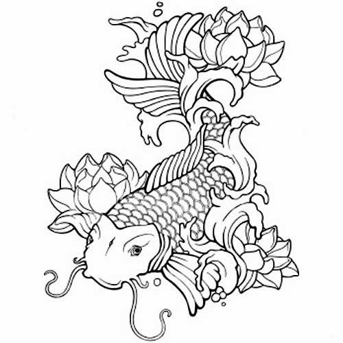 33 lotus tattoo stencils designs cool black outline koi fish with lotus flowers tattoo stencil mightylinksfo