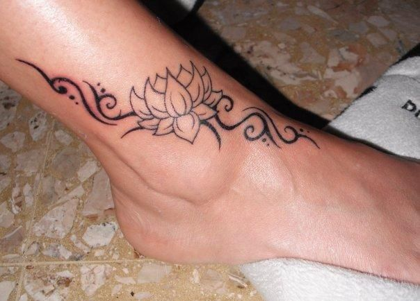 34 best lotus flower tattoos on ankle cool black outline lotus flower tattoo on right ankle mightylinksfo