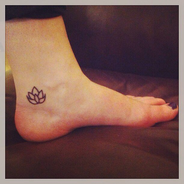 Cool black outline lotus tattoo on girl left foot ankle mightylinksfo
