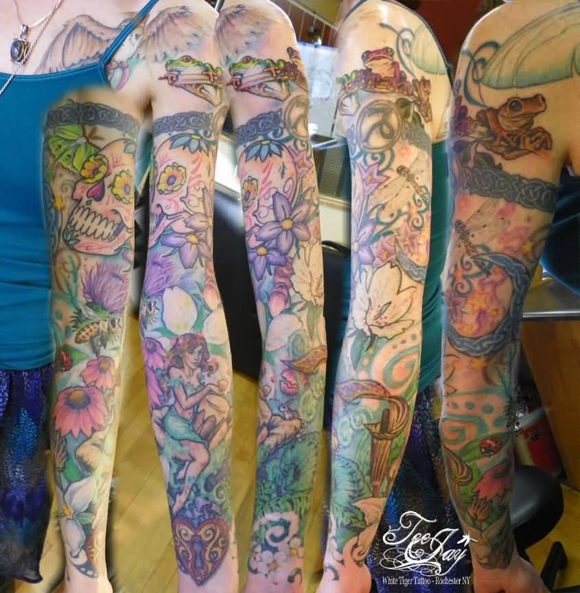 43 fairy tattoos on sleeve for Skull fairy tattoos