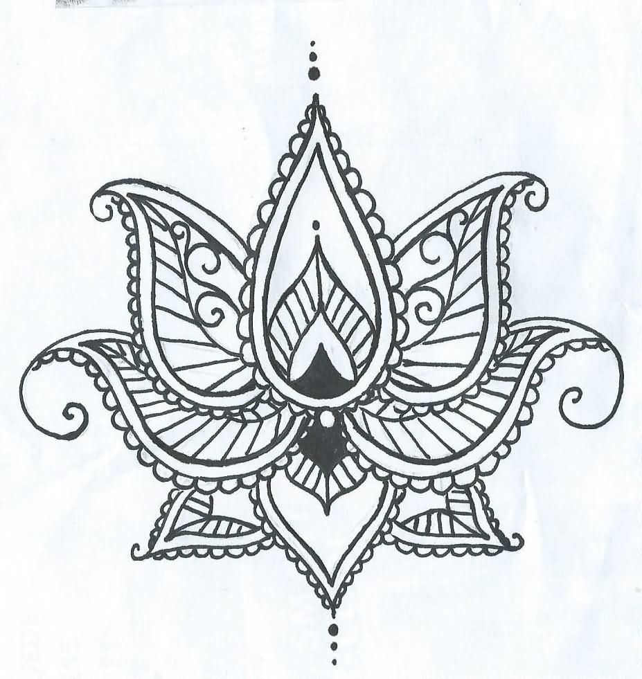 Cool Henna Lotus Flower Tattoo Stencil