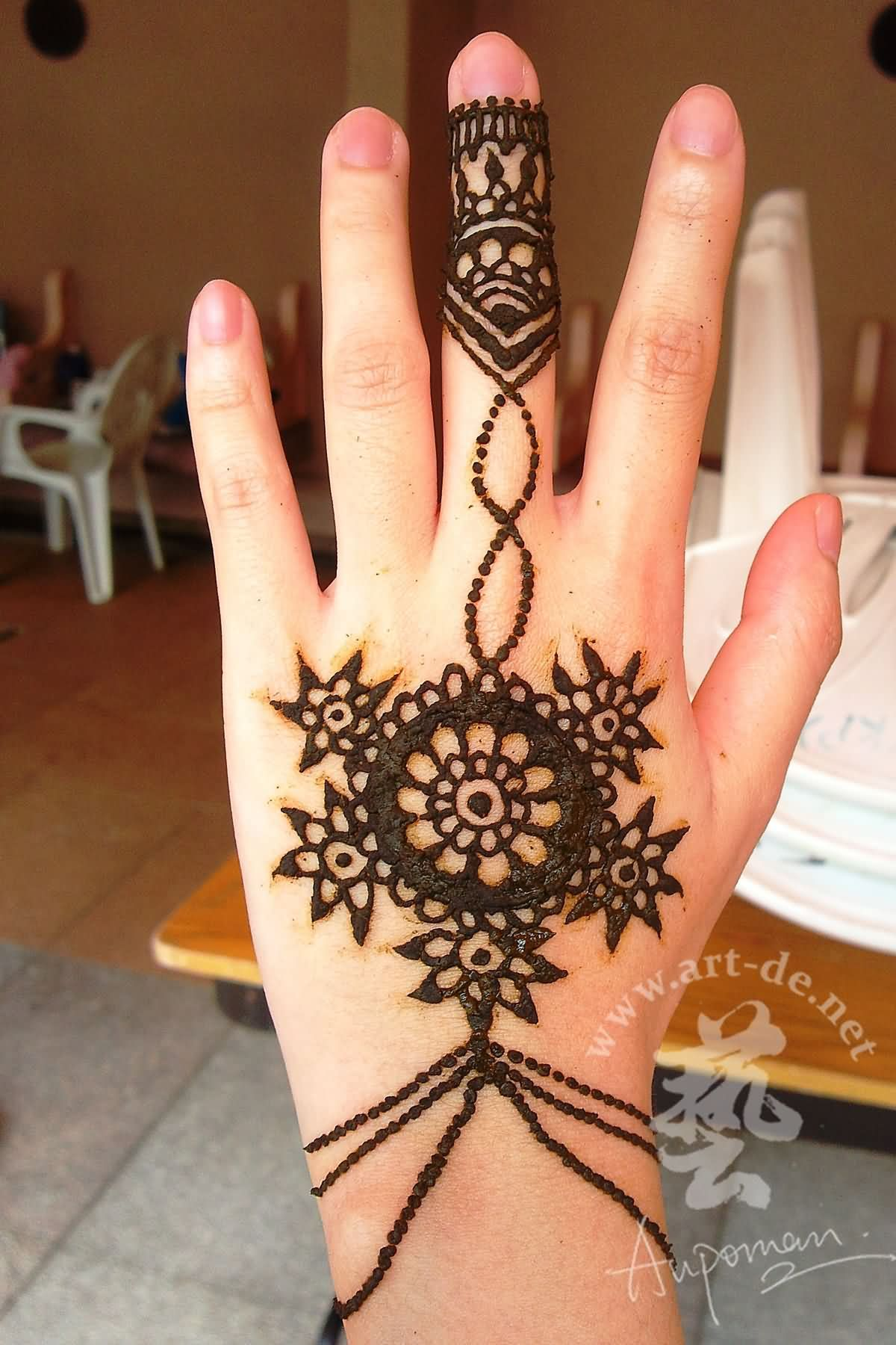 Cool Henna Lotus Flower Tattoo On Girl Left Hand