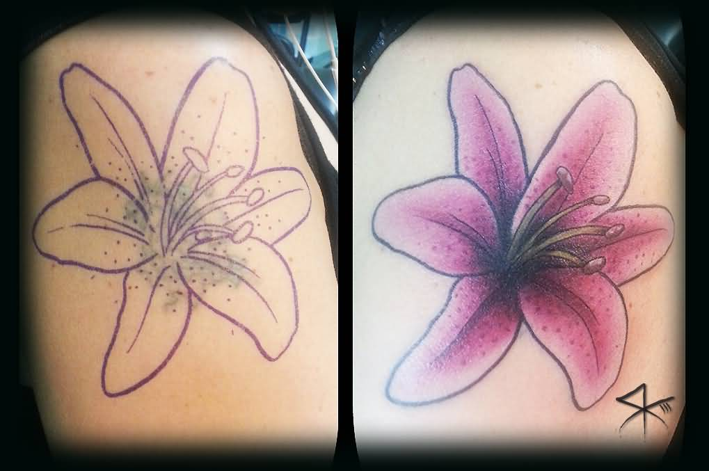 70db95a724365 Cool Lily Flower Cover Up Tattoo Design For Shoulder