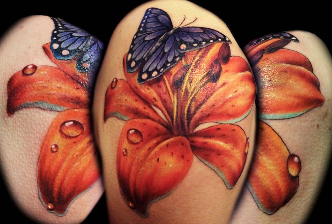 Cool lily flower on butterfly tattoo design for shoulder for Tiger lilly tattoos