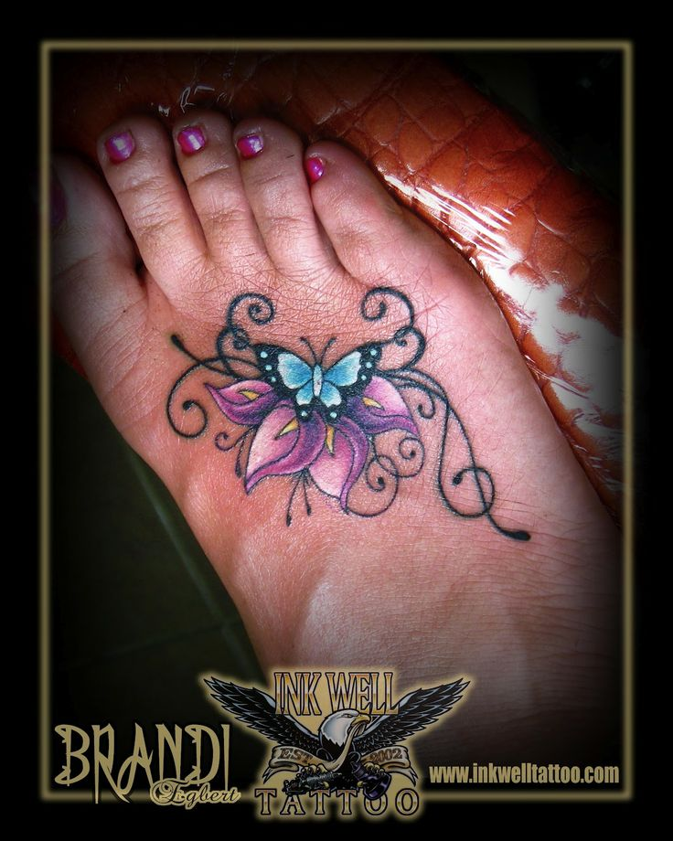 44faaebe28d6e Cool Lily Flower With Butterfly Tattoo On Right Foot