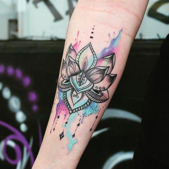 Cool lotus flower tattoo on right forearm mightylinksfo