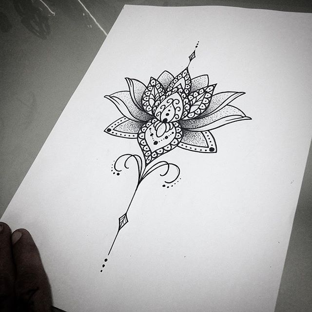 Cool Mandala Lotus Tattoo Design