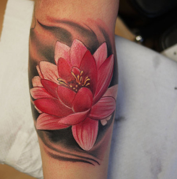 45 lotus tattoos for female for Pink ink tattoo