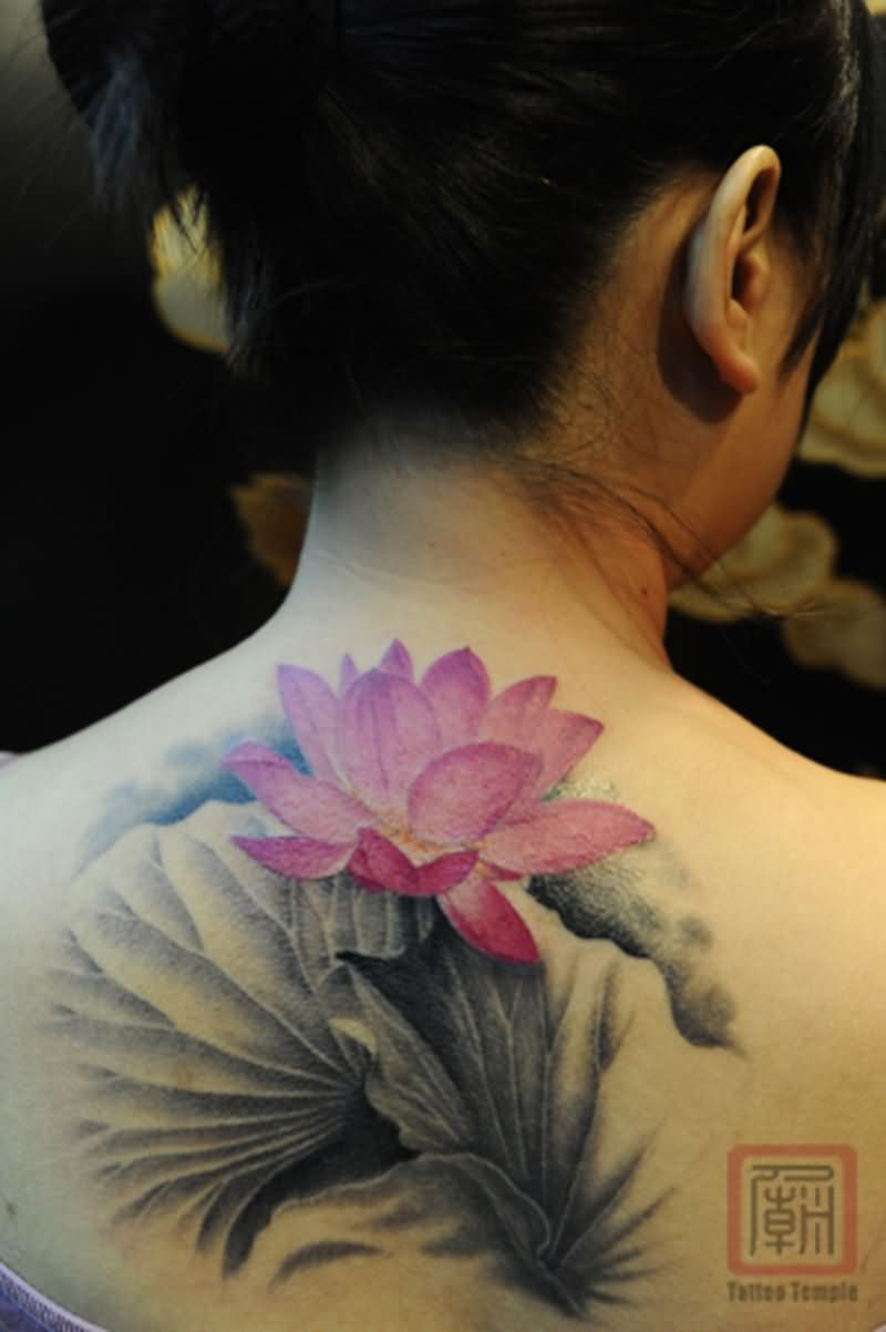 Cool pink ink lotus flower tattoo on girl back neck izmirmasajfo