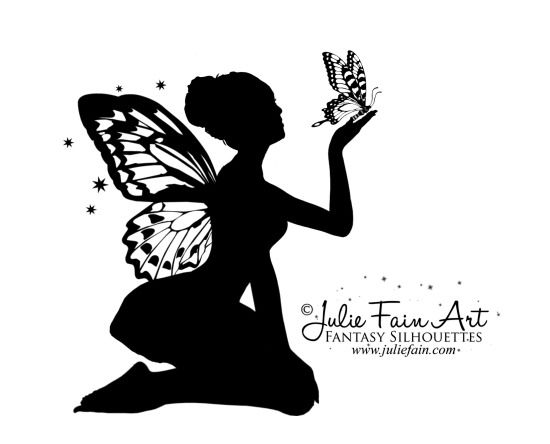 Cool Silhouette Fairy With Butterfly Tattoo Design By Julie Fain Art