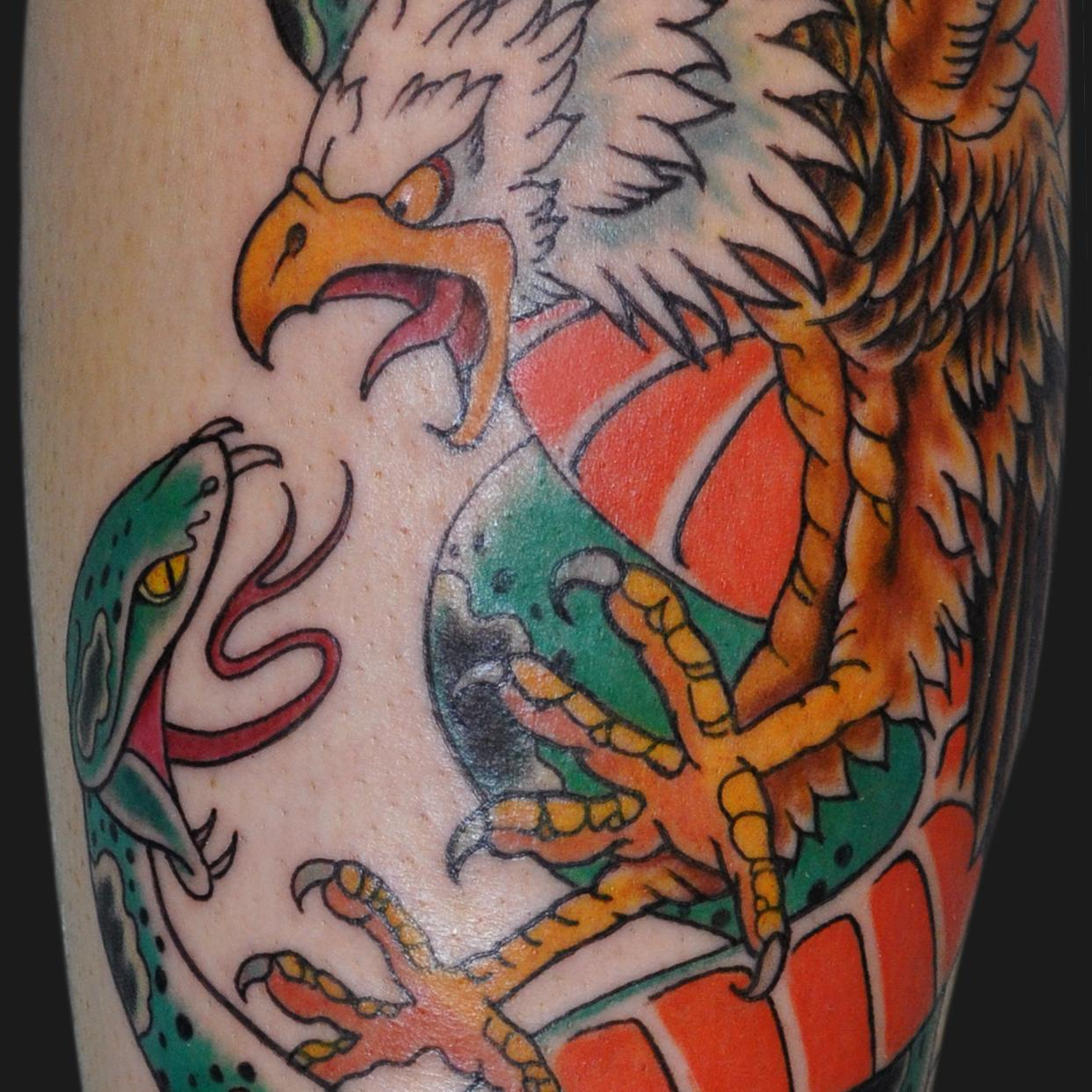 1d3600c62 Cool Traditional Eagle With Snake Tattoo Design For Half Sleeve