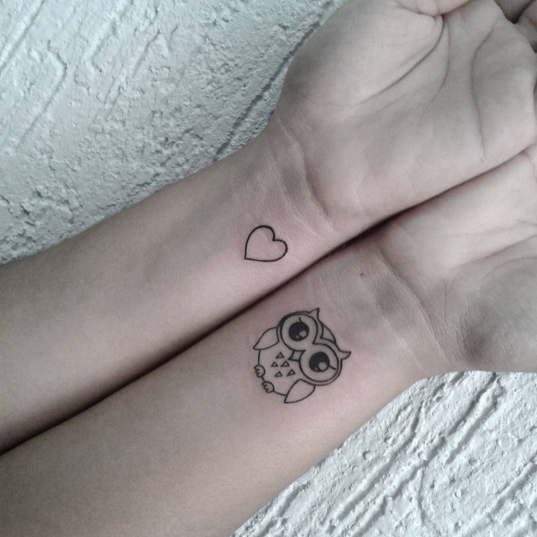 48 best owl tattoos on wrist for Black heart outline tattoo meaning