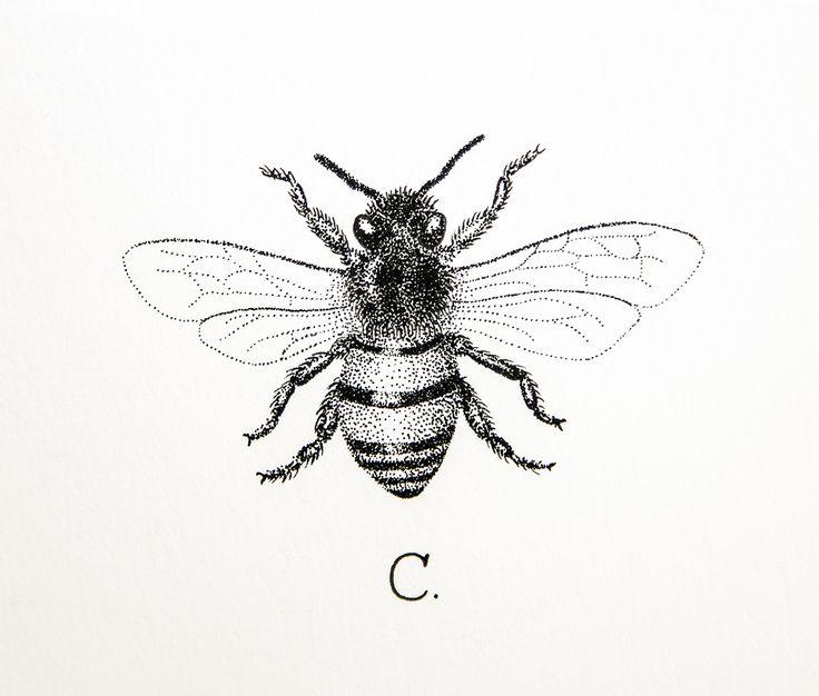Dotwork Black And White Bumblebee Tattoo Design