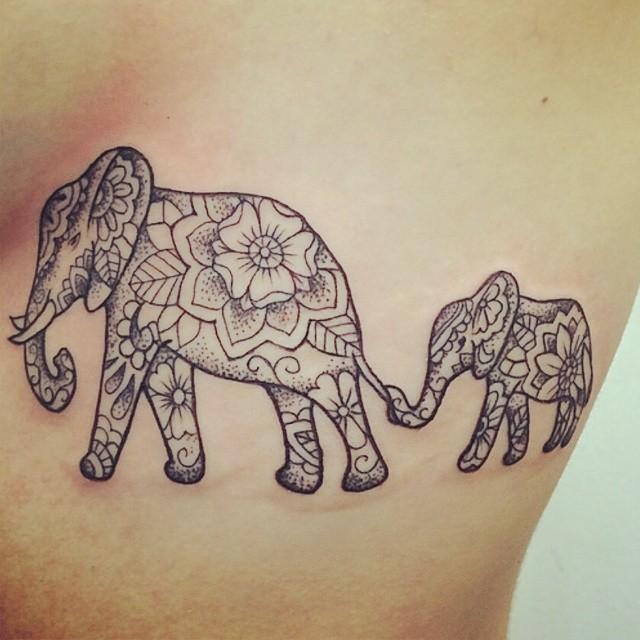 37 elephant tattoos on side rib. Black Bedroom Furniture Sets. Home Design Ideas