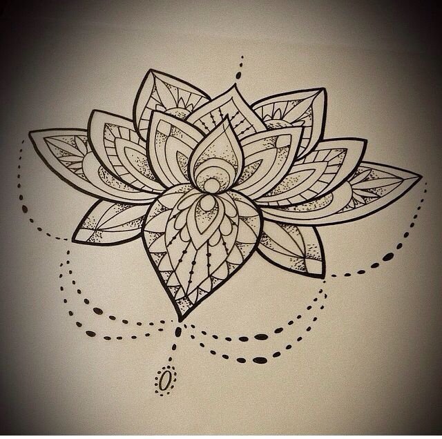 33 lotus tattoo stencils designs dotwork mandala lotus flower tattoo design mightylinksfo Gallery