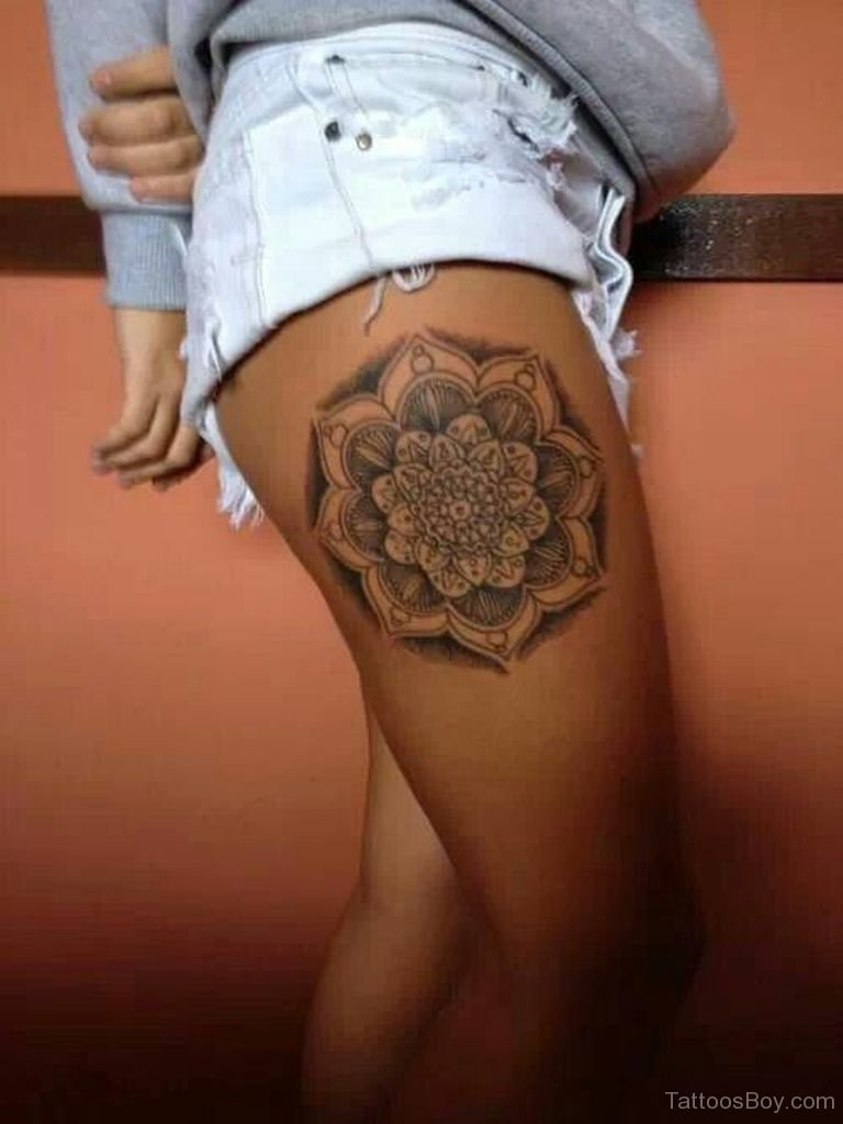 4 lotus tattoo design and sample ideas dotwork mandala lotus flower tattoo on girl right side thigh izmirmasajfo Image collections