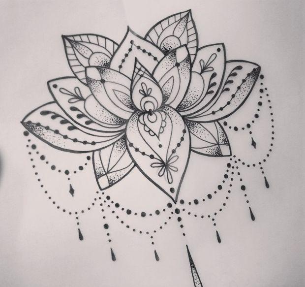 Dotwork Mandala Lotus Tattoo Design