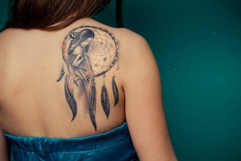 dreamcatcher tattoo on right back shoulder