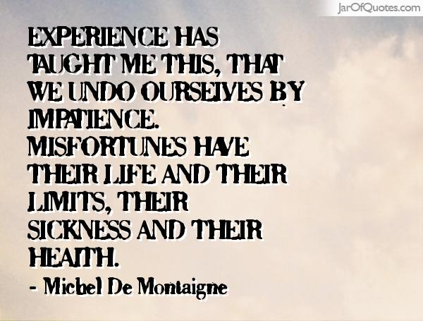 Experience Has Taught Me This, That We Undo Ourselves By Impatience  Misfortunes Have Their Limits, ...