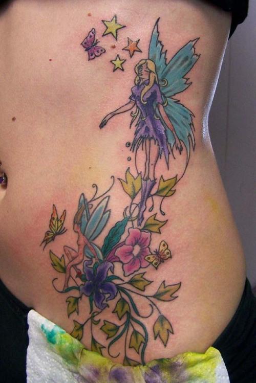 47 fairy with flowers tattoos ideas. Black Bedroom Furniture Sets. Home Design Ideas