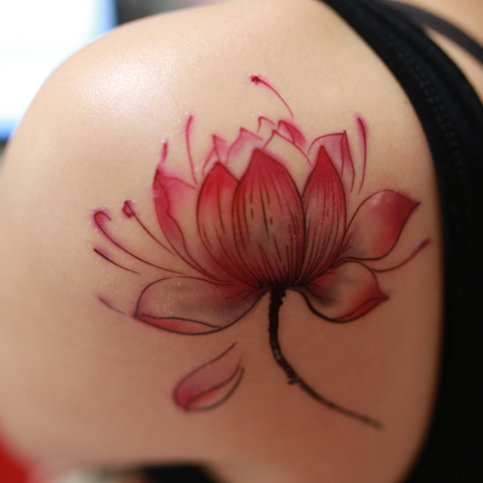 45 lotus tattoos for female for Lotus flower tattoo on shoulder