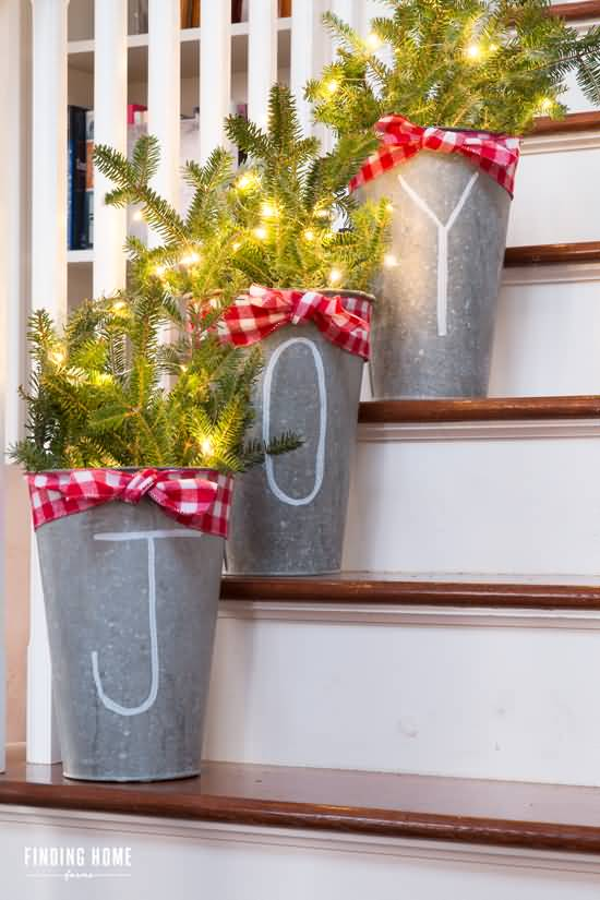 Christmas Flower Pots.Flower Pots On Stairs With Joy Text Christmas Decoration Ideas