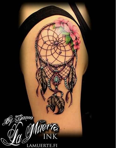 nice rose flowers colorful dreamcatcher tattoo by mighele. Black Bedroom Furniture Sets. Home Design Ideas