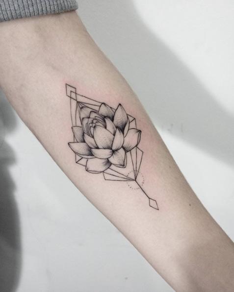 Geometric Lotus Flower Tattoo On Forearm