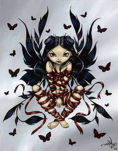 6d202fd9c Gothic Fairy With Flying Butterflies Tattoo Design