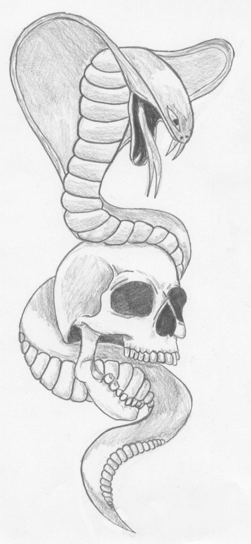 30 snake skull tattoos design grey ink cobra snake on skull tattoo design thecheapjerseys Choice Image