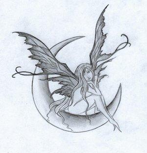 wonderful fairy on half moon tattoo design. Black Bedroom Furniture Sets. Home Design Ideas