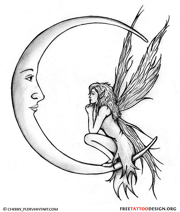 ac595546f Grey Ink Gothic Fairy On Half Moon Tattoo Design
