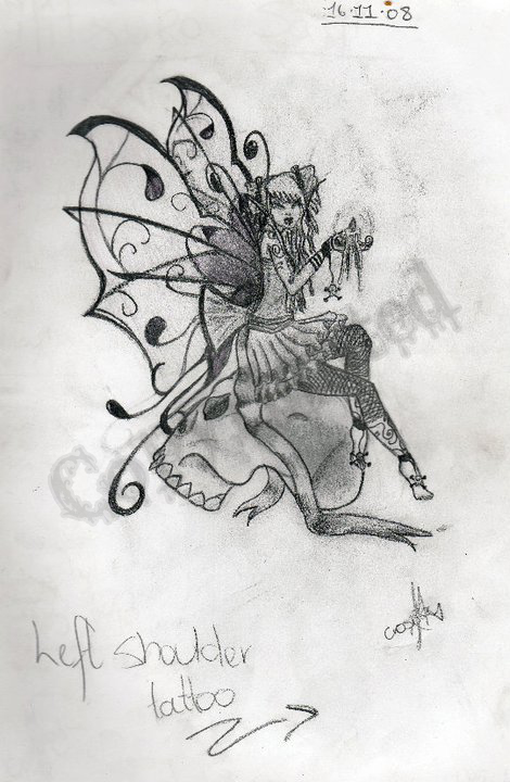 7d589a8d7 Grey Ink Gothic Fairy On Skull Tattoo Design
