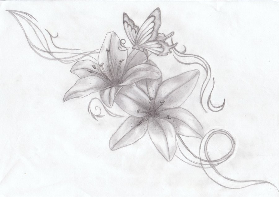 a7119019e Grey Ink Lily Flowers With Butterfly Tattoo Design