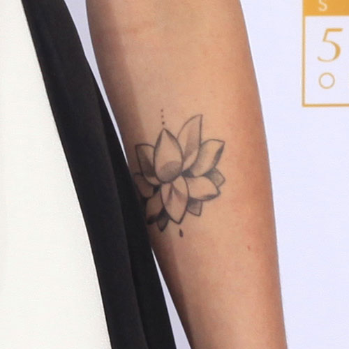 Grey Ink Lotus Flower Tattoo Design For Forearm