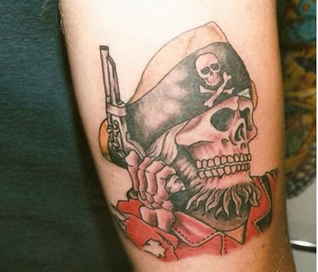 gun in pirate skeleton hand tattoo design for sleeve. Black Bedroom Furniture Sets. Home Design Ideas
