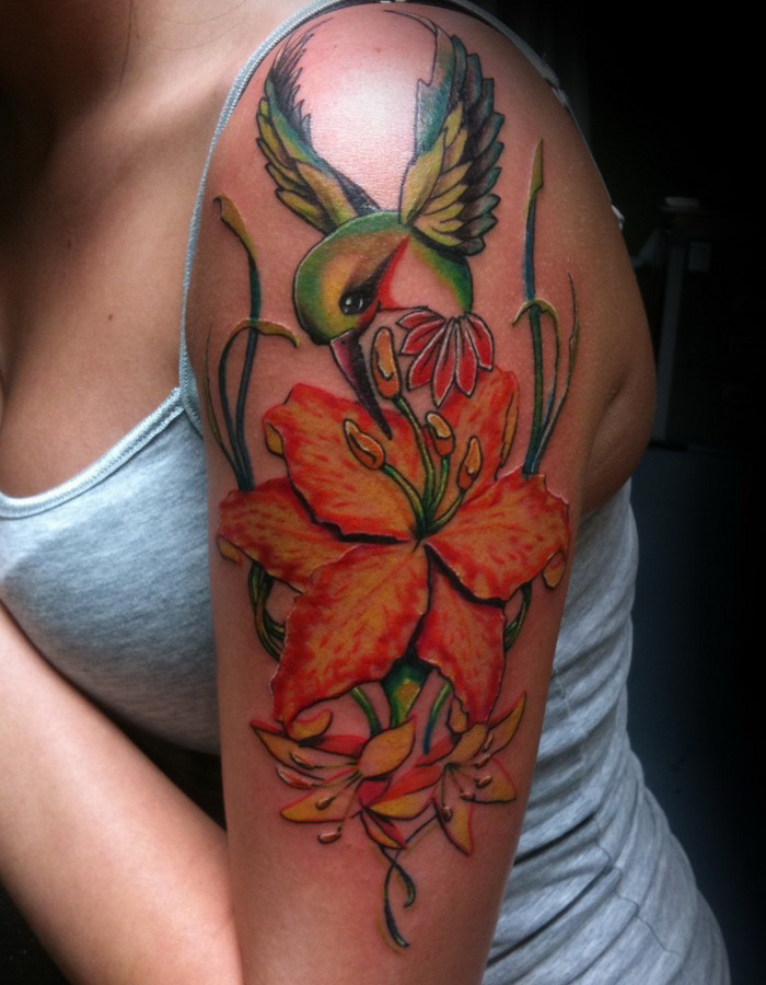 36 latest lily tattoos on sleeve for Flower tattoo arm