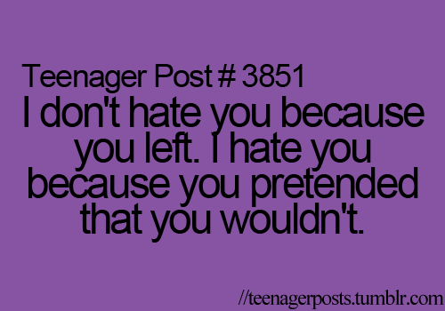 I Dont Hate You Because You Left I Hate You Because You Pretended
