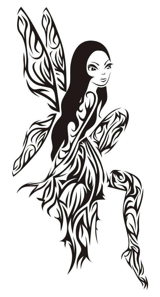 f221e8595 Black And Grey Gothic Fairy On Mushroom Tattoo Design · Wonderful Fairy On  Half Moon Tattoo Design · 31+ Tribal Fairy Tattoos Collection