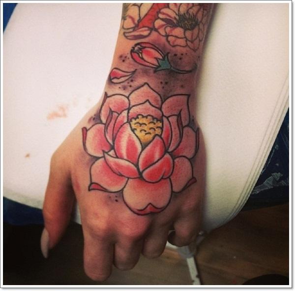 Japanese lotus flower tattoo on left hand mightylinksfo