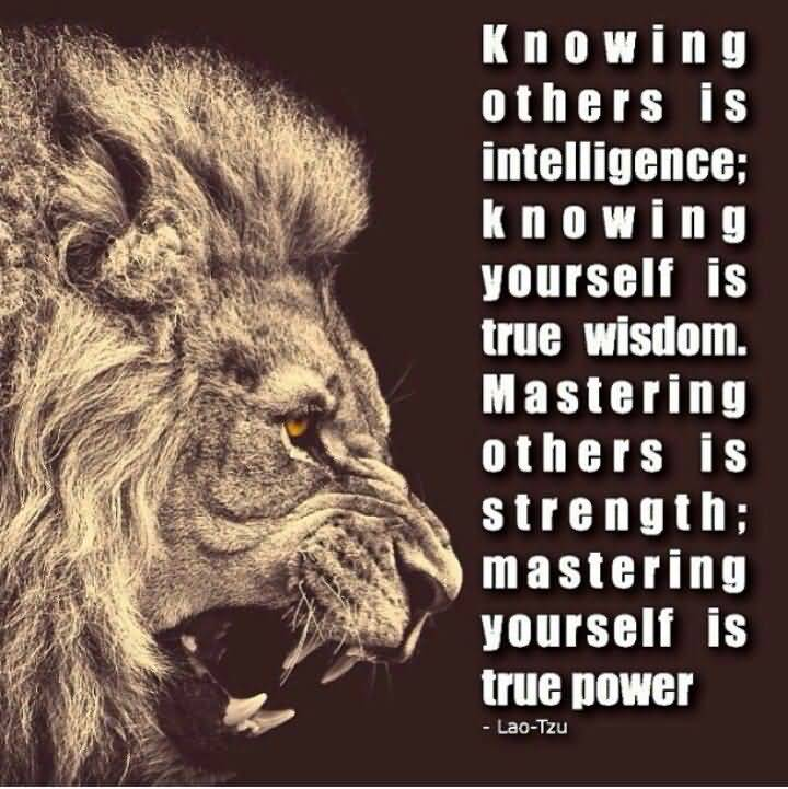 Knowing Others Is Intelligence;knowing Yourself Is True Wisdom.Mastering  Others Is Strength;