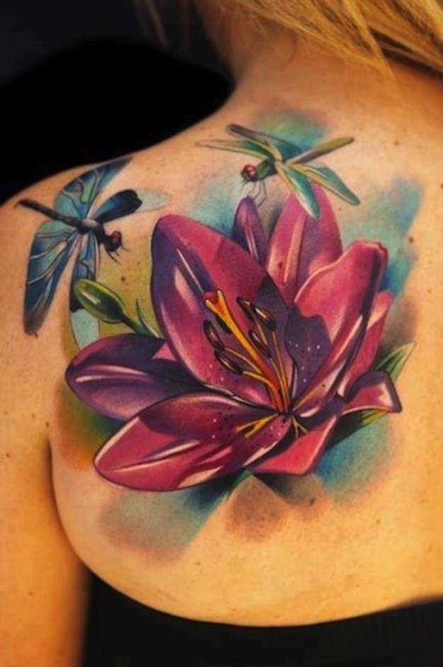 Latest 3d Lotus Flower With Dragonfly Tattoo On Girl Left Back Shoulder