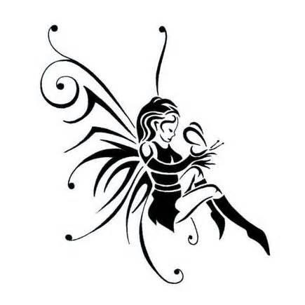 latest black tribal gothic fairy tattoo design. Black Bedroom Furniture Sets. Home Design Ideas
