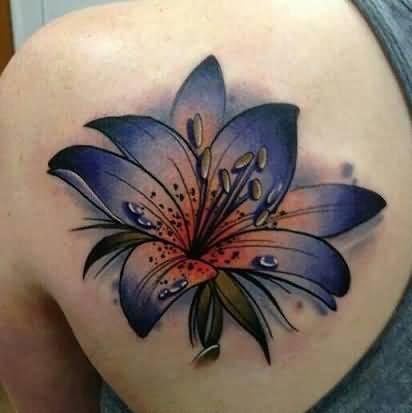 left back shoulder color ink lily tattoo. Black Bedroom Furniture Sets. Home Design Ideas