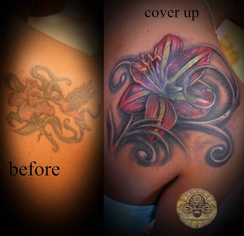 45 unique lily cover up tattoos. Black Bedroom Furniture Sets. Home Design Ideas