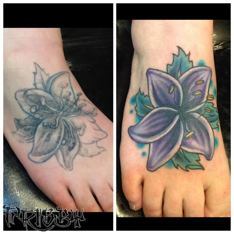 208dd3e38e80c Lily Cover Up Tattoo On Right Foot