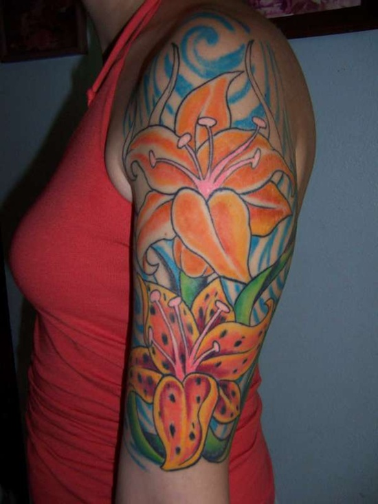 36 latest lily tattoos on sleeve for Half sleeve tattoos with meaning