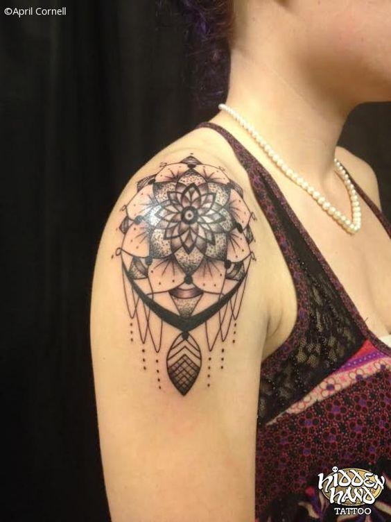 50 dreamcatcher tattoos on shoulder for Mandala shoulder tattoo