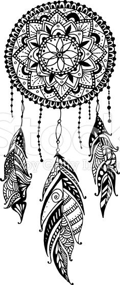 Mandala Flower Dreamcatcher Tattoo Design